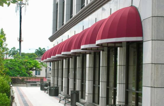 Dome awning frames and fabric covers